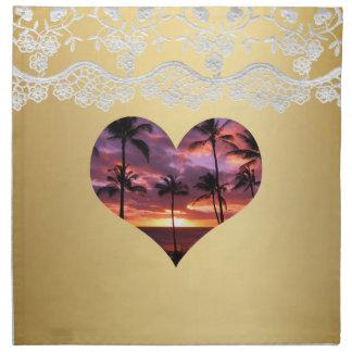 Servilleta tropical del amor del corazón de la pue