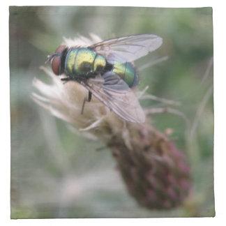 Servilleta verde de la macro de la mosca de la bot