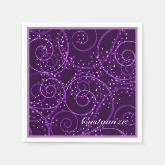 Servilletas abstractas púrpuras del remolino de servilletas desechables