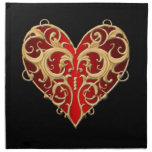 Servilletas afiligranadas rojas del corazón