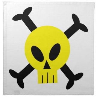 Servilletas amarillas del cráneo y de la bandera p