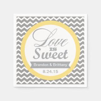 Servilletas amarillas y grises del boda de Chevron Servilleta Desechable