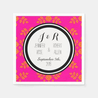 Servilletas anaranjadas rosadas negras del boda servilleta desechable