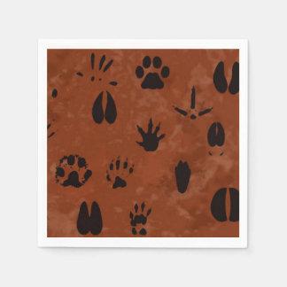 Servilletas animales de la huella servilletas de papel