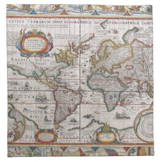 Servilletas antiguas del paño del mapa del mundo