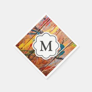 Servilletas artísticas salpicadas del monograma de servilleta de papel