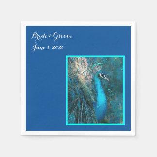 Servilletas azules brillantes del boda del pavo servilleta desechable