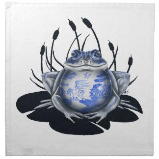 Servilletas azules de la rana de Bull del sauce
