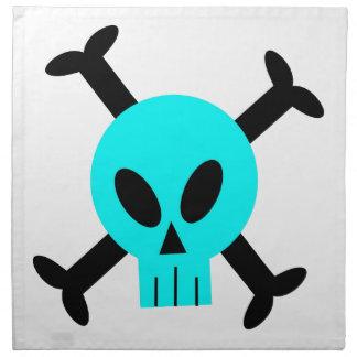 Servilletas azules del cráneo y de la bandera pira