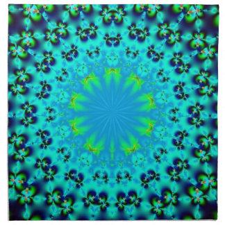 servilletas azules del fractal de la mandala