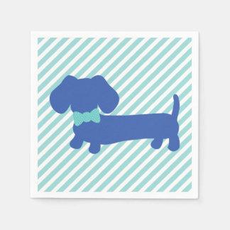 Servilletas azules del perro de la salchicha de servilletas desechables
