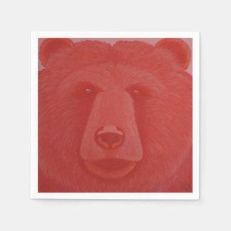 Servilletas bermellonas del oso servilleta desechable