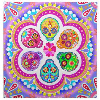 Servilletas coloridas del paño de los cráneos del