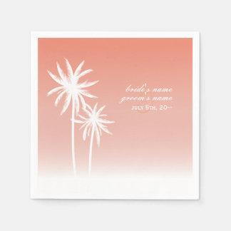 Servilletas coralinas del boda de playa de las servilleta de papel