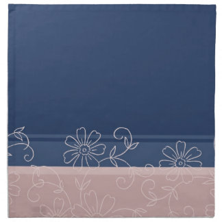Servilletas de cena elegantes florales azules rosa