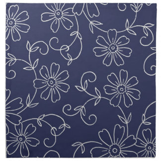 Servilletas de cena elegantes florales azules y po