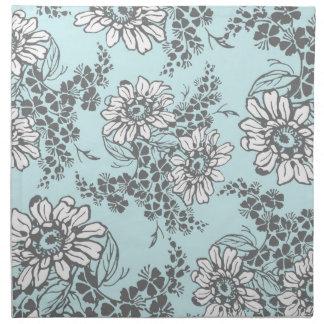 Servilletas de cena florales del gris azul de ciel