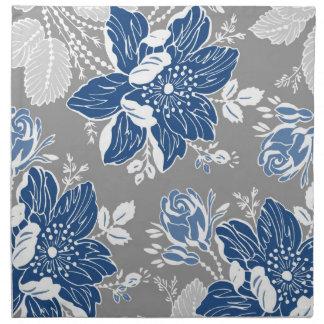 Servilletas de cena florales grises azul marino