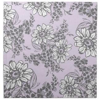 Servilletas de cena florales grises de la lila