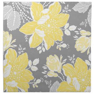Servilletas de cena florales grises del limón
