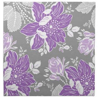 Servilletas de cena florales grises púrpuras