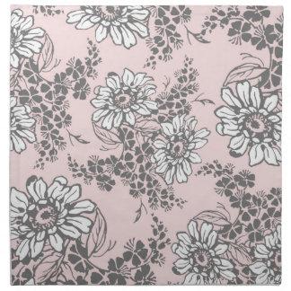 Servilletas de cena florales grises rosadas