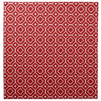 Servilletas de cena geométricas rojas del modelo