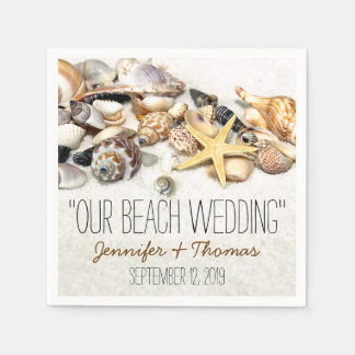 Servilletas de encargo del boda de los Seashells Servilleta De Papel