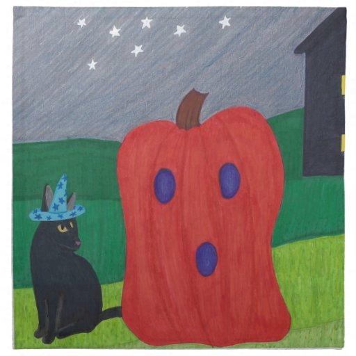 Servilletas de Halloween del gato del fantasma y d