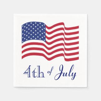 Servilletas de la bandera americana de julio del servilletas de papel