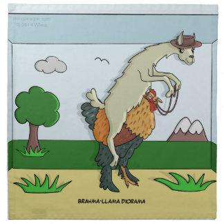 Servilletas de la diorama de la Brahma-Llama