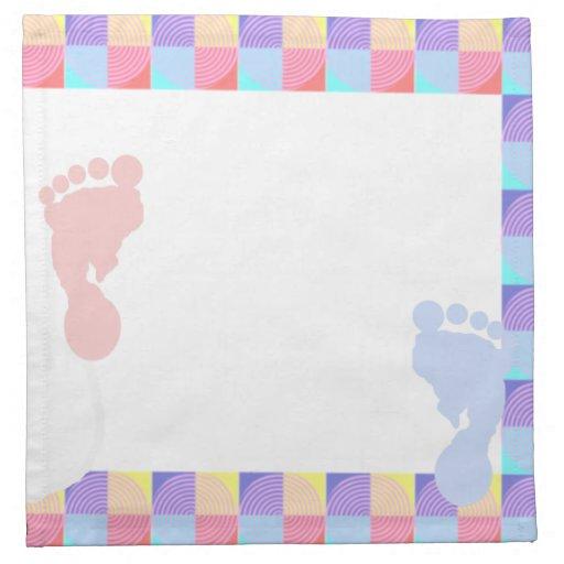 Servilletas de la huella del bebé rosado y azul