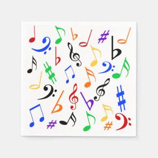 Servilletas de la música - coloridas: 369 servilleta de papel
