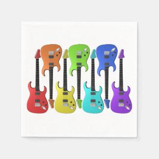 Servilletas de papel coloridas de las guitarras