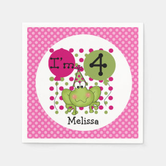 Servilletas de papel cumpleaños rosado de la rana