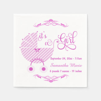 Servilletas de papel de la nueva niña rosada de mo
