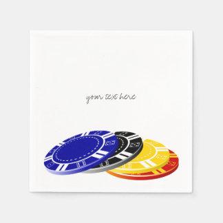 Servilletas de papel de las fichas de póker del ca
