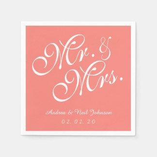 Servilletas de papel de Sr. y de señora Coral Pink