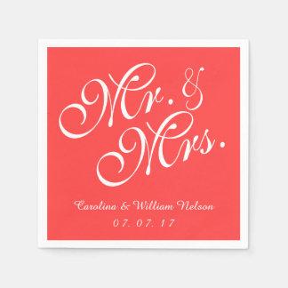 Servilletas de papel de Sr. y de señora Coral Red