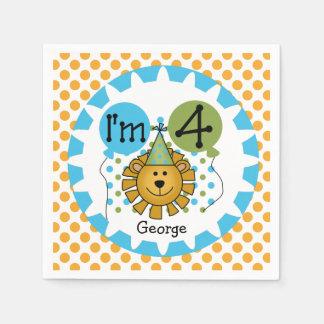 Servilletas de papel del 4to cumpleaños del león