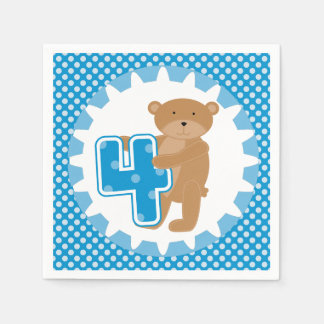 Servilletas de papel del 4to cumpleaños del oso de