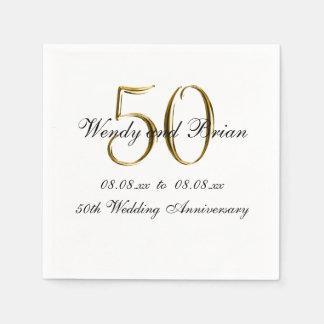 Servilletas de papel del aniversario de boda del n