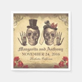 Servilletas de papel del boda gótico de los pares