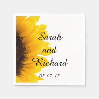 Servilletas de papel del boda moderno del girasol