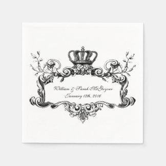 Servilletas de papel del boda real elegante