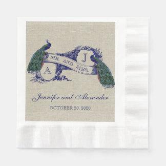 Servilletas de papel del boda rústico de lino del