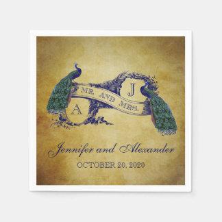 Servilletas de papel del boda rústico del pavo rea