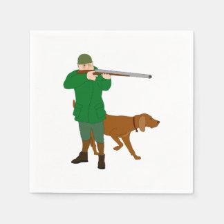 Servilletas de papel del cazador y de un perro