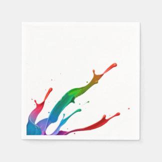 Servilletas de papel del chapoteo del color