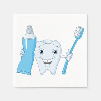 Servilletas de papel del diente y del cepillo de